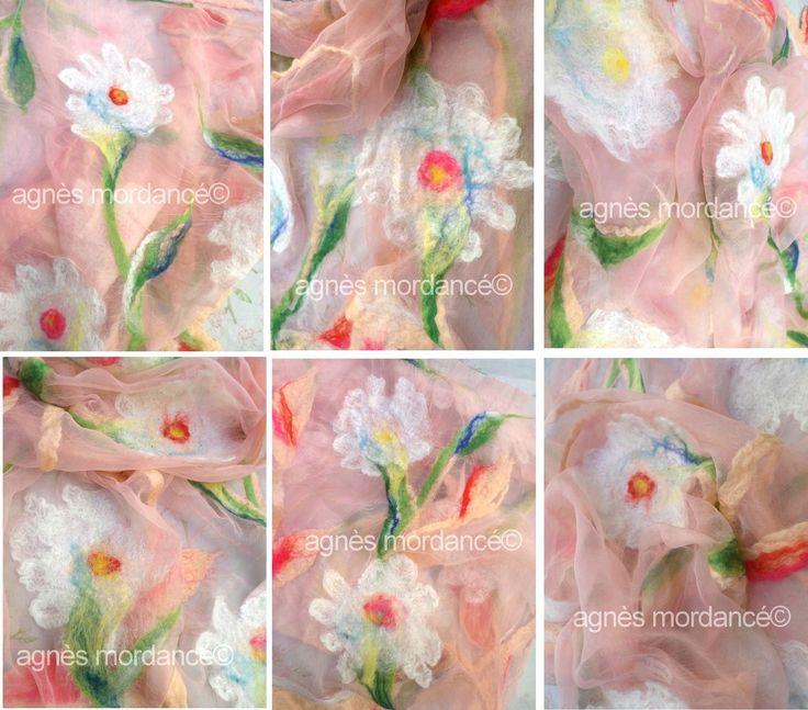 Grande étole soie ''Ophélie'' 165X65cm rose nude - pure mousseline de soie feutrée - pièce unique : Echarpe, foulard, cravate par agnes-mordance
