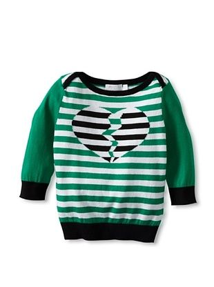81% OFF SHAE Girl's Boatneck Sweater with 3/4 Sleeves (midn/wwht/clov)