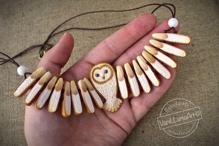 VaniLlamaArt Polymer Clay Barn Owl necklace.