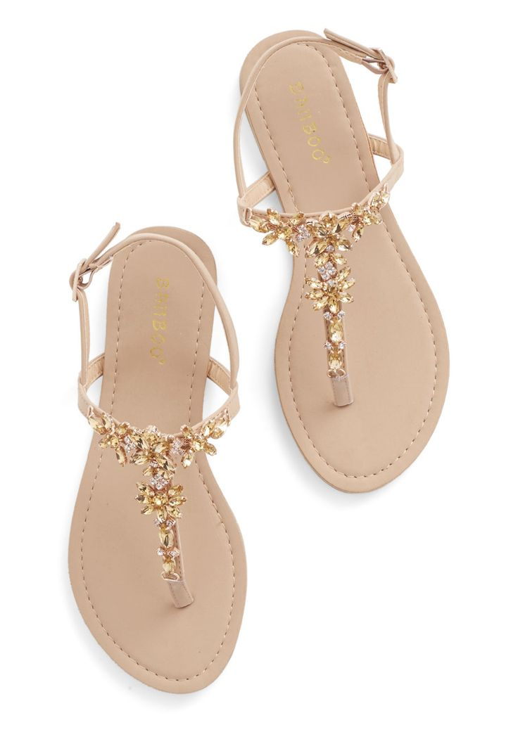 Shine Like You Mean It Sandal in Champagne | Mod Retro Vintage Sandals | ModCloth.com