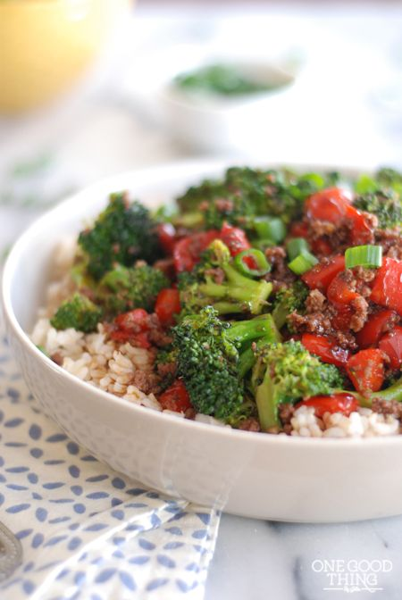 Koren Ground Beef: soy, brown sugar, ground ginger; broccoli, red peppers, scallions, rice. EASY