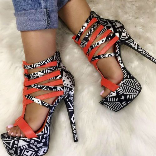 Multi Black Strappy Heels. Save 45%