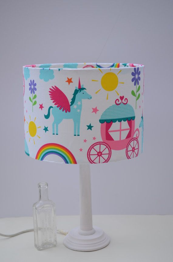 Lampshade girls bedroom nursery lamp unicorn by ShadowbrightLamps
