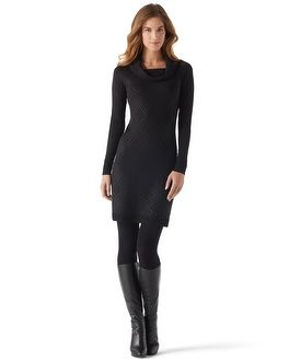 White House | Black Market Black Studded Sweater Dress