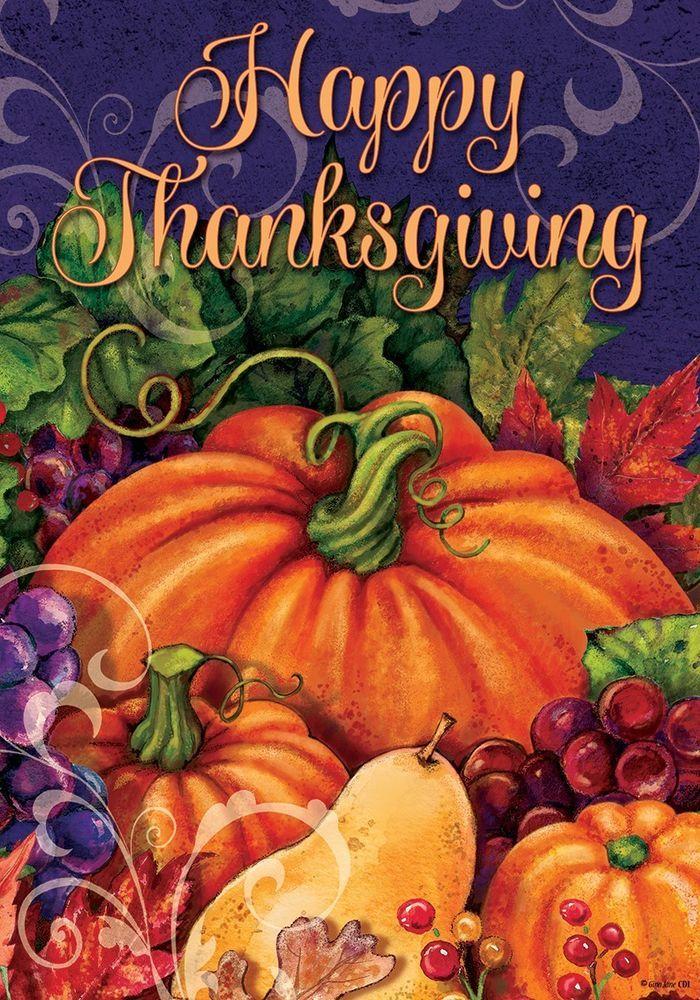 "Happy Thanksgiving Pumpkin House Flag Large 40"" x 28"" #CustomDecor"