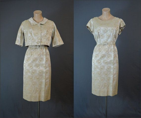 1960s Swirly Gold Satin Brocade Dress and by dandelionvintage