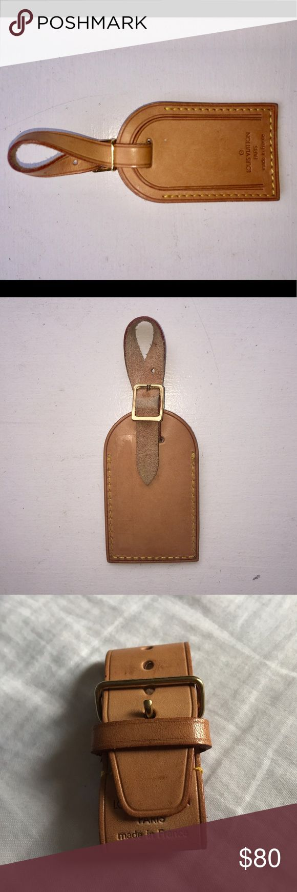 Louis Vuitton luggage tag Louis Vuitton authentic luggage tag nicely patina made in France Louis Vuitton Accessories