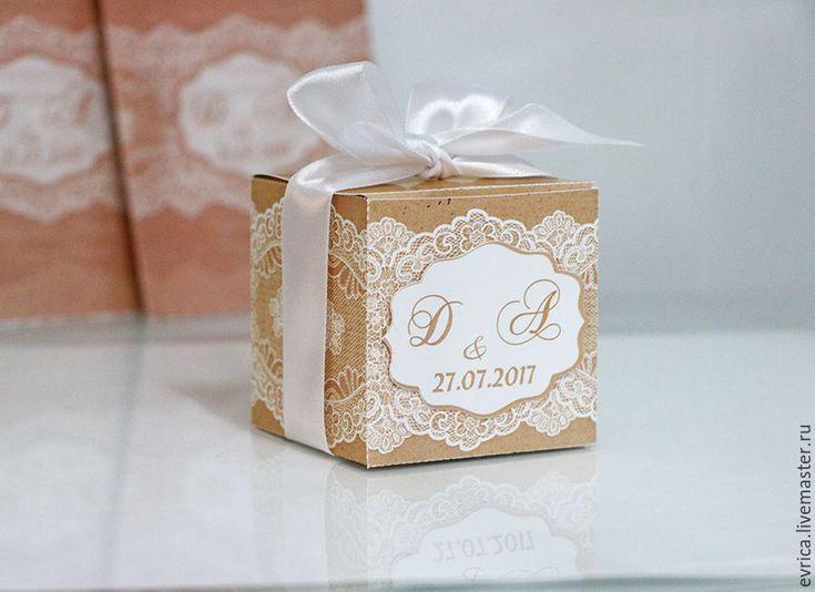 """Купить """"Кружева"""" бонбоньерка - бежевый, белый, кружево, упаковка, упаковка для подарка, бонбоньерка, бонбоньерки на свадьбу"""