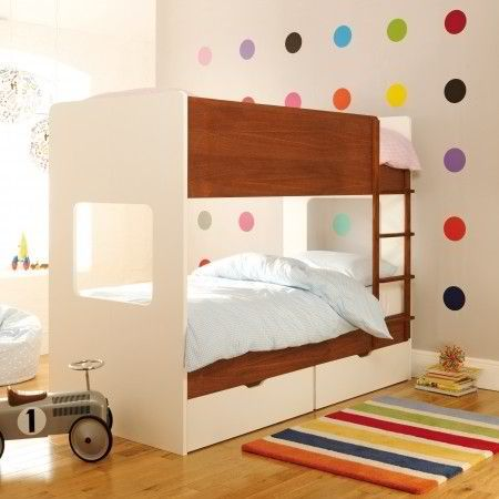 Kids room with modern bunk beds--love the accent wall!