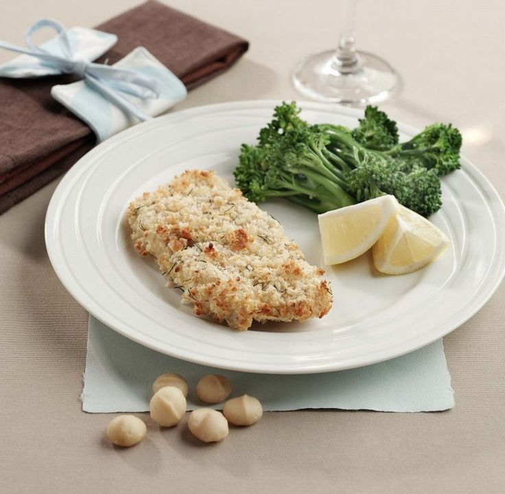 Add texture and zest to succulent fish fillets with this macadamia and lemon crust.