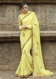 Party Wear Georgette Yellow Embroidered Work Saree