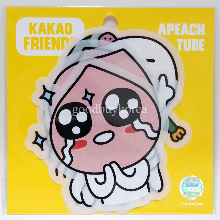 Kakao friends clear sticker apeach tube kakao talk emoticon comic character in