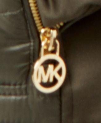 Michael Michael Kors Faux-Fur-Trim Mixed-Media Puffer Coat - Purple XXL