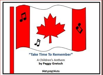 Marlypeg Music presents: Take Time To Remember..... for Remembrance Day, this patriotic partner song to O Canada will deeply touch the hearts of all present as your young choristers acknowledge appreciation for all Canadian veterans.This zip file contains a lead sheet, as well as a two-part arrangement, instructions for teaching and/or performance, and a word sheet for individual practice and/or projection.