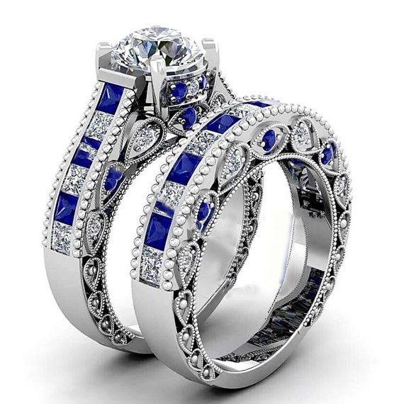 This set of Doctor Who sapphire bands. | 21 Engagement Rings Any Geek Will Say Yes To