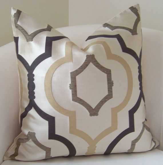 Decorative Pillow Cover Brown Trellis Throw Pillow by nestables, $35.00 Would look SO GOOD on my bed!