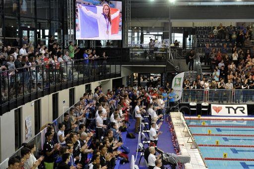 LE 31/03/15 Championnat de France de Natation. 1ER JOUR Hommage à Camille Muffat LIMOGES - Tribute to swimmer Camille Muffat in the swimming pool of Limoges, on the first day of the French swimming championships.