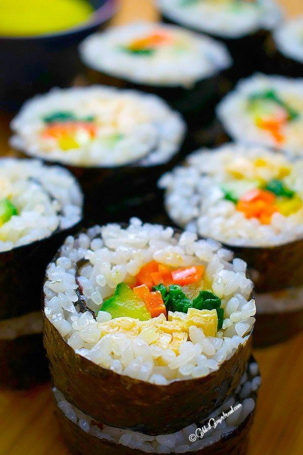 Vegetarian Kimbap Korean Seaweed Rice Roll Gilded Gingerbread Recipe Food Asian Vegetarian Recipes Kimbap