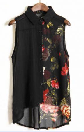 Black Ink Floral Print Sleeveless Chiffon Sheer Shirt