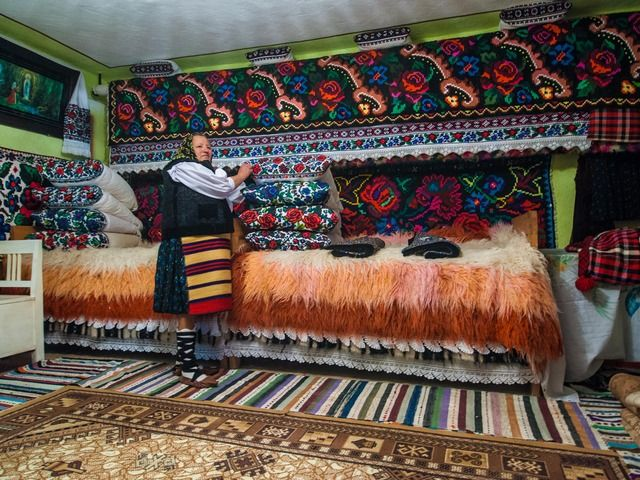 Traditional Maramures house, all what's inside her house is woven with a hand loom, photo Nora De Angelli