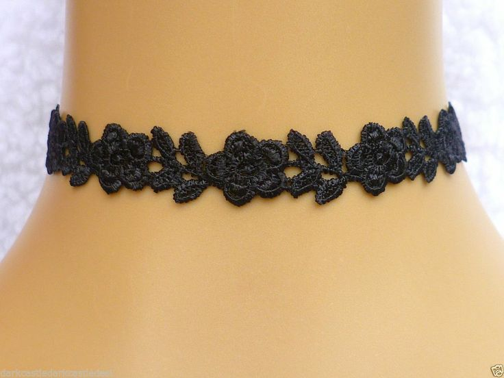 Black Guipure Flower/ Rose Lace Choker/ Necklace Gothic Burlesque Victorian