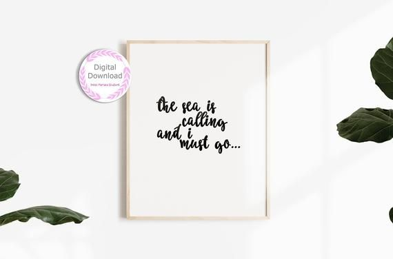 Ocean Quotes Coastal Quotes Beach House Wall Art Shabby Chic Beach Decor Sea Quote Wall Art Quote Print Instant Digital Download Wall Art Quotes Wall Quotes Ocean Quotes