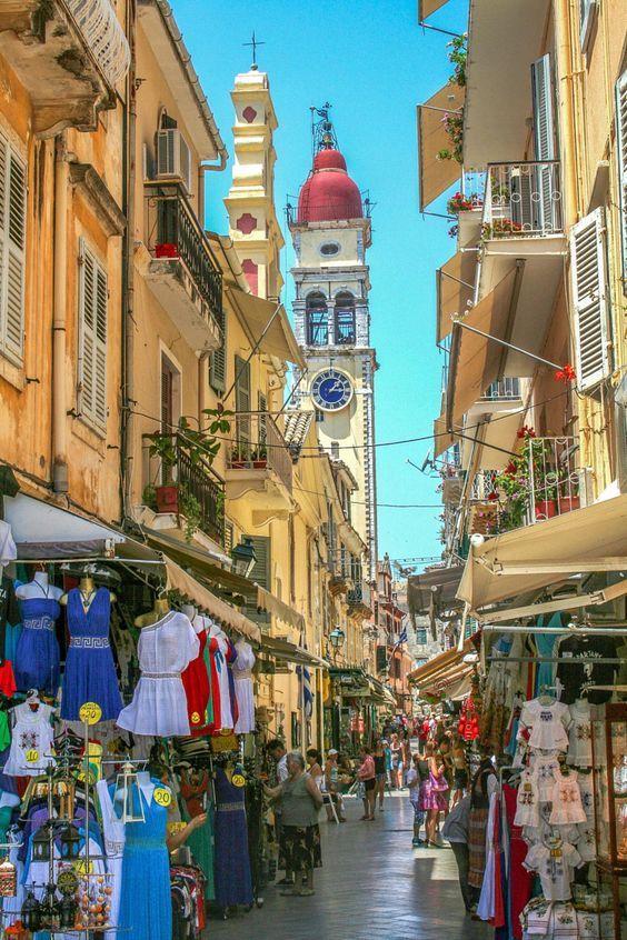 Shopping in Old Town of Corfu, Greece