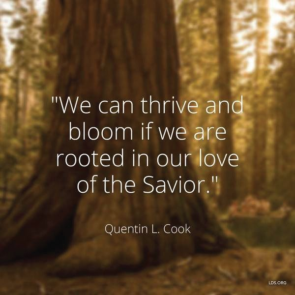 """""""We can thrive and bloom if we are rooted in our love of the Savior."""" -Quentin L. Cook"""