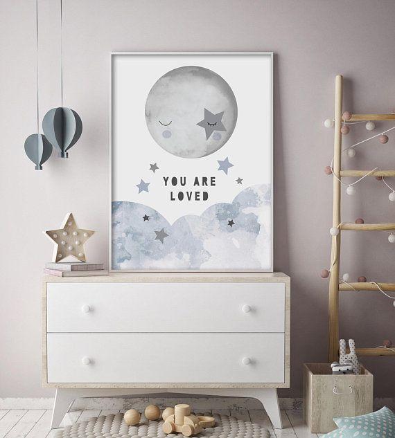 Whimsical Sky Moon And Stars Nursery Print Children S Wall