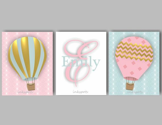 Baby Girl Nursery Art Hot Air Balloon Art by inkspotsgallery