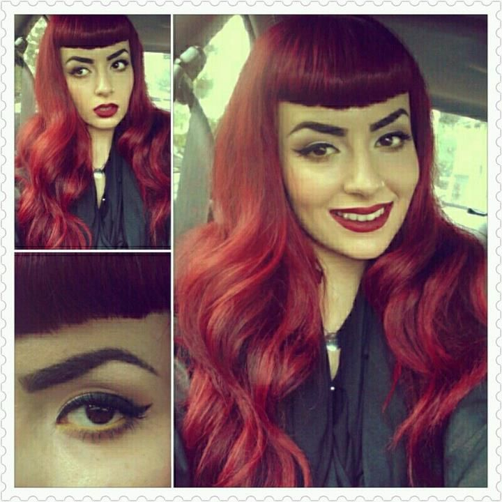 Pinup Beauty: gorgeous dark red hair with bettie bangs.