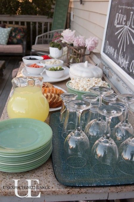 Tips for throwing an outdoor party on a cheap budget! Mom's night out style! ;) Use things you already have!!
