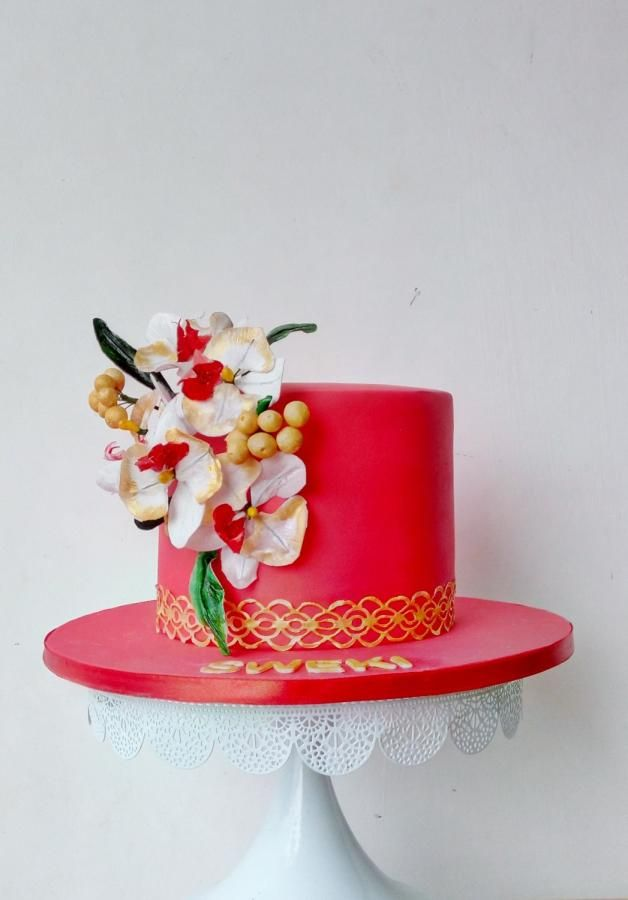 Red+with+white+orchids!+-+Cake+by+Nikita+Nayak+-+Sinful+Slices
