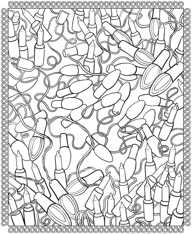 String Of Lights Coloring Page : 47 basta bilderna om FREE Printable Christmas Adult Coloring Pages pa Pinterest