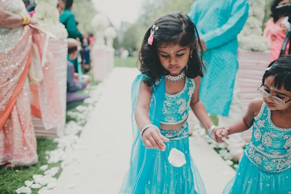 indian flower girl dresses | adorable flower girls dressed in matching turquoise lenghas these mini ...