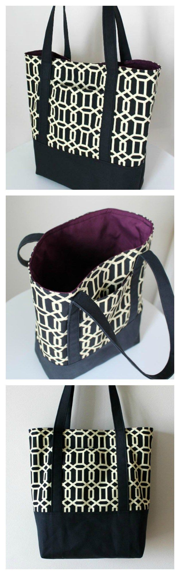 Love this heavy duty tote bag.  Free pattern and step by step tutorial for how…