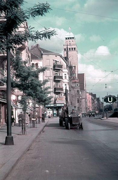 Berlin Neukölln - The Berliner Strasse (Karl-Marx-Str.) with the Neukölln District City Hall 1938