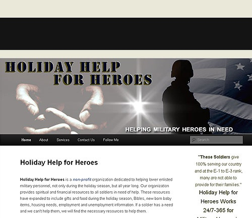 Holiday Help for Heroes is a non-profit organization dedicated to helping lower enlisted military personnel, not only during the holiday season, but all year long. http://www.holidayhelpforheroes.com/  ***Design by http://www.fineartandgraphicsdesign.com