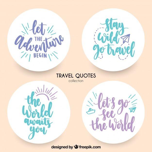 Pegatinas decorativas con mensajes de viaje Vector Gratis