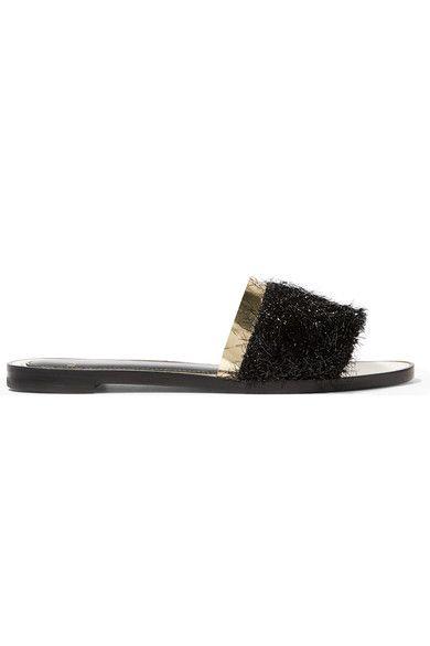 Lanvin - Tinsel-trimmed Leather Sandals - Black