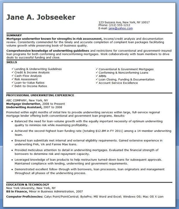 Mortgage Underwriter Resume Examples Engineering Resume