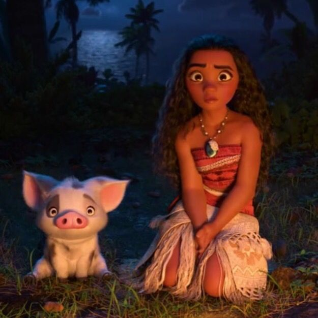 Moana and Pua after seeing Maui dance around.