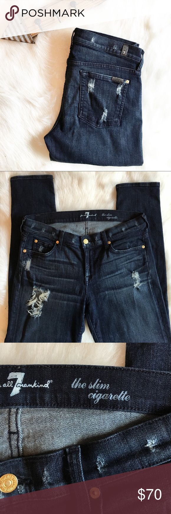 """7 FOR ALL MANKIND """"the slim cigarette jeans 7 for all mankind the slim cigarette jeans. Size 30. Length is 40 inches. Inseam is 30 inches. 7 For All Mankind Jeans Straight Leg"""
