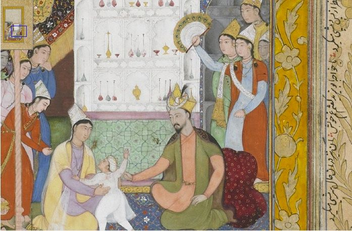 Young Akbar Recognizes His Mother From an Akbarnama (Book of Akbar) Attributed to Madhava (act. 1582–ca. 1624) India, Mughal dynasty, ca. 1596–1600 Opaque watercolor, ink, and gold on paper Purchase Freer Gallery of Art F1939.57  http://www.asia.si.edu/