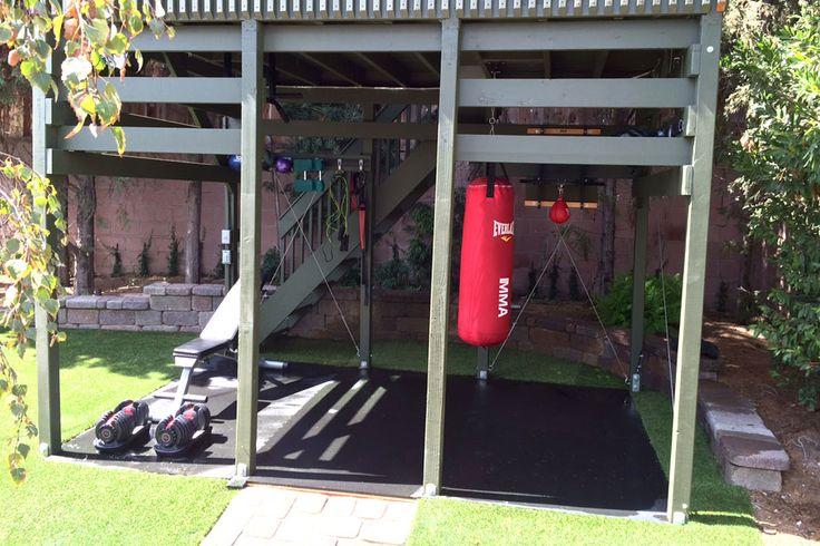 "Outdoor workout area  I  Home gym ideas  I  RubberFlooringInc 1/2"" Rubber Gym Tiles"