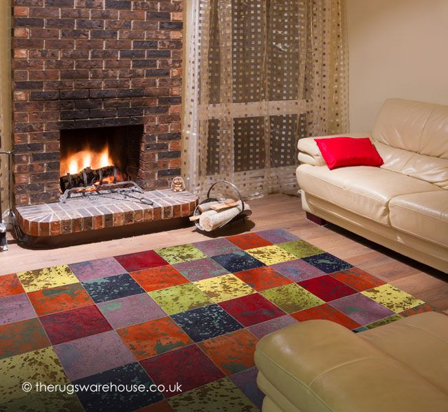 Allspice Rug, a vibrant multi-coloured handmade cowhide leather rug http://www.therugswarehouse.co.uk/modern-rugs3/girona-rugs/allspice-rug.html #rugs #interiors