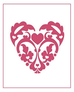 Pretty Heart Printable. I think I want to use this for a pillow cover.  Cute!