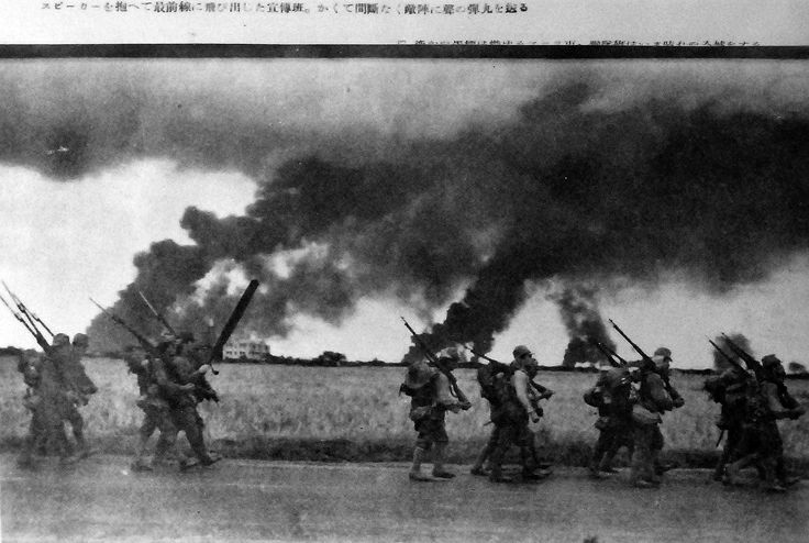 Japanese soldiers in Subic Bay action and the fall of Manila Bay, Philippines. Captured Japanese photograph copied in 1942.