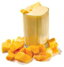 Mango Pineapple Protein Shake                           Ingredients:   •  1 scoop of vanilla whey protein (110)     •  1/2 cup mango chunks (53)     •  1/2 cup pineapple chunks (41)     •  1/4 cup orange juice (37)     •  water             Nutrition:     241 calories, 26g protein
