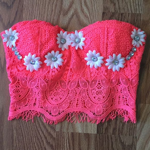 Neon Pink Bustier Festival Top It is a size small! Adjustable straps. I wear a 32D and fits snug. Very comfy. Handmade. Worn for EDC Las Vegas 2015! Never worn again Price is now firm* Iheartraves Tops Crop Tops